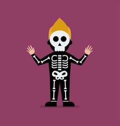 Kid wearing a skeleton costume vector