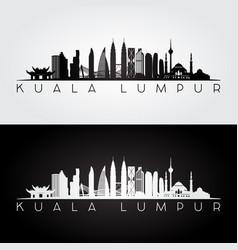 Kuala lumpur skyline and landmarks silhouette vector