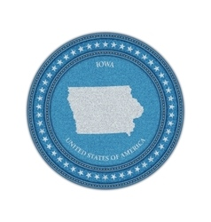 Label with map of iowa Denim style vector