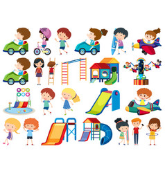 Large set isolated objects kids vector