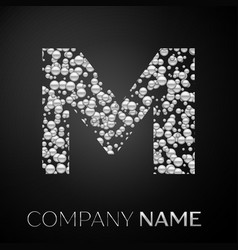 letter m logo silver dots alphabet logotype vector image