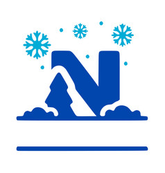 Letter n and winter composition monogram logo vector