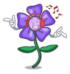 listening music periwinkle flower mascot cartoon vector image