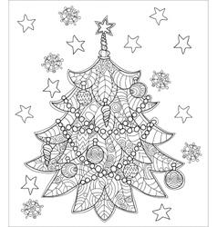 Merry Christmas Zentangle Fir Tree Doodle Vector Image