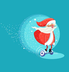 Modern santa clause riding electric board vector