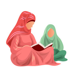 Muslim mother in red clothes read koran to her vector