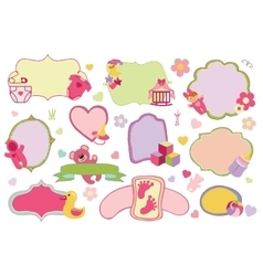 Newborn Baby girl badgeslabels setBaby shower vector image