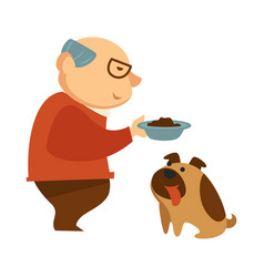Old man feeding hungry dow with tongue stick out vector