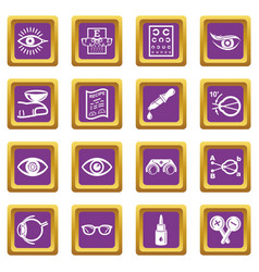 ophthalmologist icons set purple square vector image