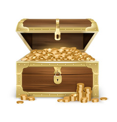 realistic wooden chest with coins vector image