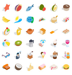 Relaxation icons set isometric style vector