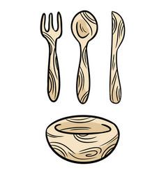 Reusable bamboo kithcenware set doodles zero vector
