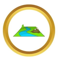 River avd mountains icon vector
