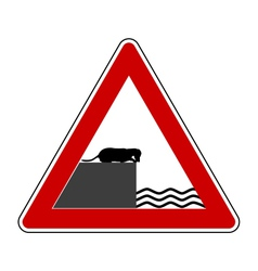 Road ending warning sign for dogs vector image