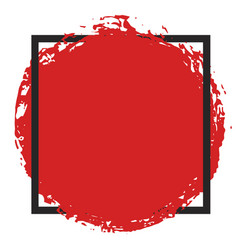 Round grunge red painted blot in black square vector