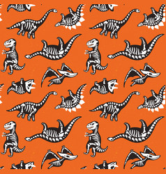 seamless pattern with cute scary silhouettes of vector image