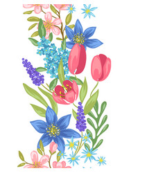 Seamless pattern with spring flowers vector