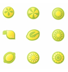 set abstract lemon icons vector image