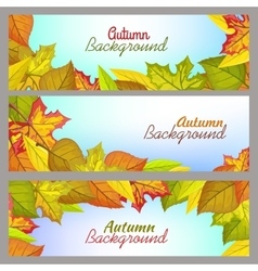 Set of Autumn Background Banners in Flat Design vector