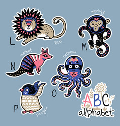 set of cute patch badges with animals alphabet l vector image