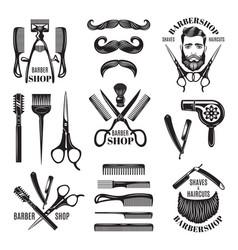Set of different barber shop tools vector