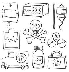 Set of element medical doodles vector