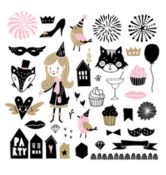 set of hand drawn new year or birthday party vector image