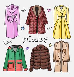 set of hand drawn women clothes coats vector image