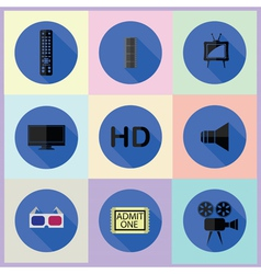 set of media icon vector image