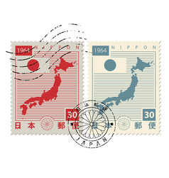 Set of old postage stamps with japan map and flag vector