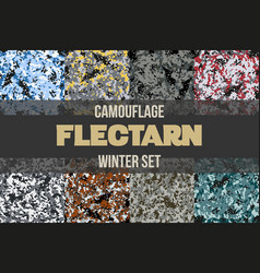 Set of winter flectarn camouflage seamless pattern vector
