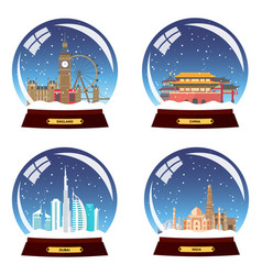 Set snow globe city england china dubai and vector