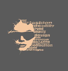 Silhouette of a female head fashion keywords vector