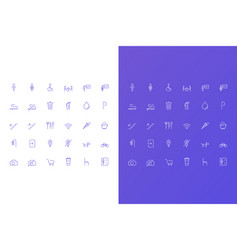 simple icons set for cafe vector image