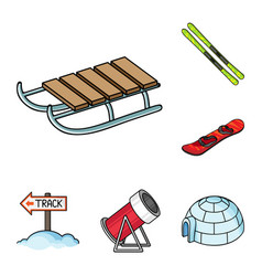 Ski resort and equipment cartoon icons in set vector