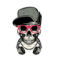 Skull with headphones design element for poster vector