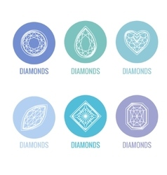 Stylized icons of diamonds Blue and white colors vector image