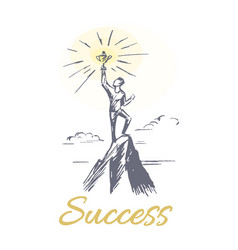 success person at mountain top vector image