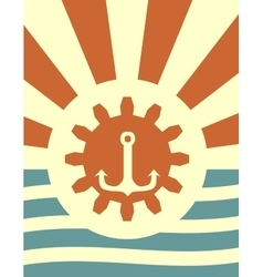 sun rays backdrop with gear and anchor icon vector image