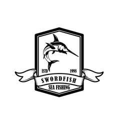 Swordfish fishing trip emblem template with vector