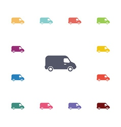 van flat icons set vector image