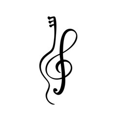 violin guitar and treble clef music key abstract vector image