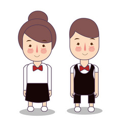 Waitress male and female waiter character vector