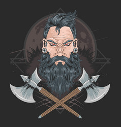 warrior beard men piercing element vector image