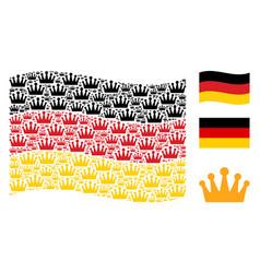 Waving germany flag mosaic of crown items vector
