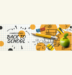 Welcome back to school horizontal banner doodle vector