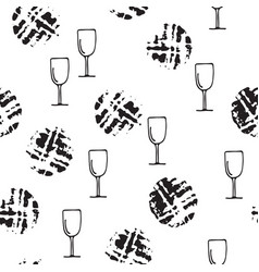 Wine glass stain circle cork trace and drops vector