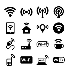 Wireless technology Wi-Fi web icons set vector image
