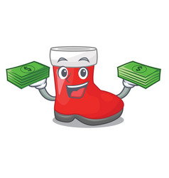With money santa boots are on character shelf vector