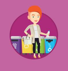 woman throwing away plastic bottle vector image